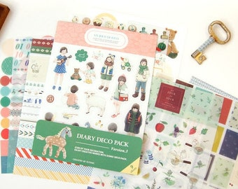 Kawaii Various Illustrated Deco Sticker Pack (9 sheets)