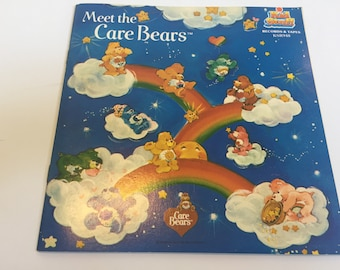 Vintage Meet The Care Bears Record and Story Book Vintage 1983 by Kid Stuff - Rare 1980's Nostalgia Lot 2