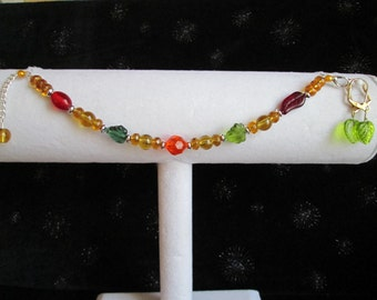 Fall Colored Leaves Beaded & Silver Bracelet and Earring Set