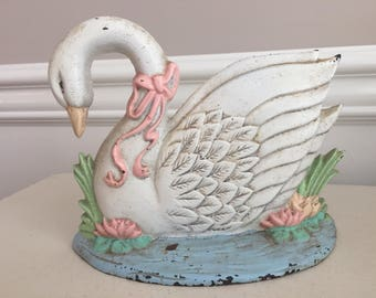 Cast Iron swan door stop vintage,French Country Cottage, shabby chic,cottage chic,mid century