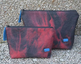 Handmade makeup bag, Red and black, Makeup pouch, Travel cosmetic bag, Zipper pouch, Cosmetics toiletry bag, Cosmetic case, Makeup organizer