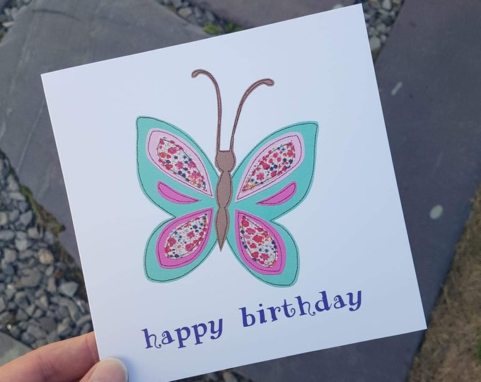 """Butterfly Happy Birthday Card with Kraft Envelope - 6"""" square - BIRTHDAY / ANY OCCASION"""