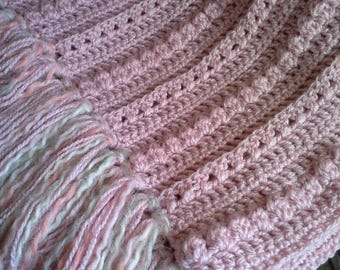 Pale pink crochet throw blanket, light pink crochet afghan, couch throw, home decor, pale pink blanket,  throw with fringe