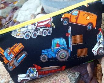 Construction Pencil Case, Personalized School Supply Bag, Boy's Pencil Pouch, Bulldozer Bag, Construction Vehicles Bag