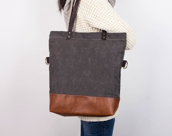 waxed canvas tote,Grey Tote, Leather Bottom Bag/Canvas Base Cotton Adjustable Strap - Leather Handles/Canvas and Leather Tote/Waterproof bag