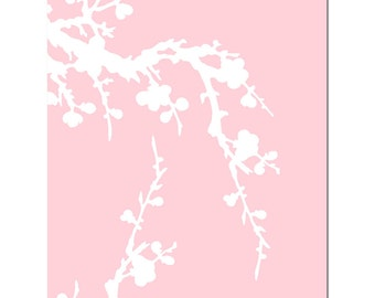 Cherry Blossom - 8x10 Floral Print - Modern Nursery Decor - Choose Your Colors - Shown in Pale Pink and White