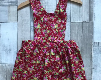 Red Pinafore Dress - Girls Red Dress - Toddler Floral Dress - Girls Red Pinafore - Spring Floral Dress - Baby Pinafore Dress