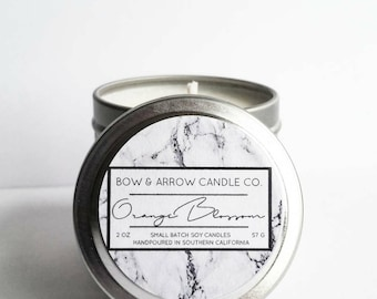 2 oz Natural Soy Candle Orange Blossom Scented | 2 oz Tin Candle | Orange Scented Candle | Orange Blossom | Fruit Scented Candle | Gift Idea