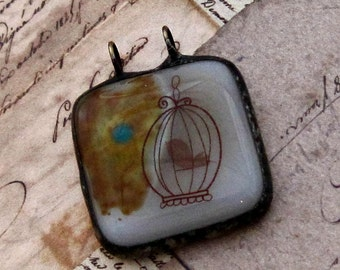 Simple Pendant | One Inch Image | Birdcage | Earthy