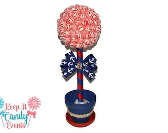 Nautical Themed Lollipop topiary, Wrapped Lollipops, 17 inches tall, Nautical Theme, Nautical Candy, Anchor Decor, Beach Wedding Ideas