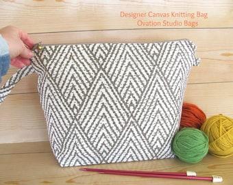 Knitting bag, Zipper knitting project bag, chevron bag for knitter, gift for knitter