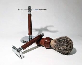Shave set in black walnut