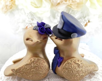 Police Love Birds Wedding Cake Topper, Gold, Silver and Dark Purple, Bride and Groom Keepsake, Fully Personalized