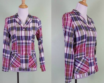 1970s Deadstock Madras Plaid Blazer - Indian Cotton - Small