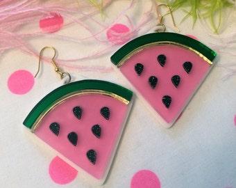 Watermelon Slice Acrylic Laser Cut Earrings