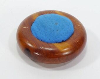Vintage Wood Pincushion - Round Turned Wood Pincushion - Upcycled Pincushion - Finished Wood Mini Pincushion