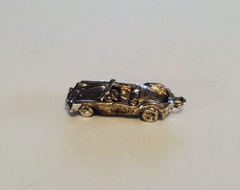 Convertible sports car sterling silver charm vintage # 516