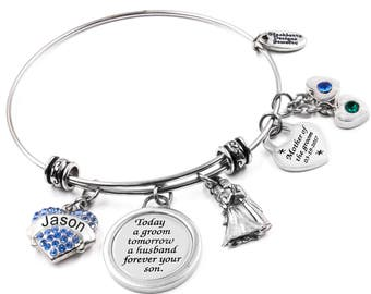 Personalized Engraved Bangle Bracelet, Mother of the Groom, Today a Groom, includes bride and grooms name in three sizes