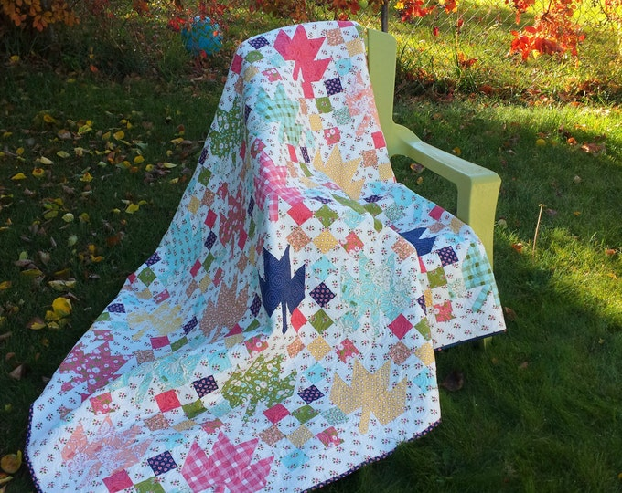 Fruition a patchwork, leaf, scrap quilt pattern with 16 patches