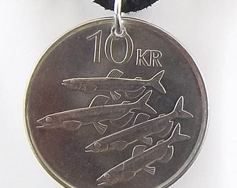 Iceland Coin Necklace 10 Kronus, Coin Pendant, Leather Cord, Mens Necklace, Womens Necklace, 2004
