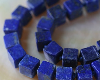 6mm Cube Beads - Lapis Lazuli Gemstone Cube Beads - Jewelry Making Supply - Choose Your Amount