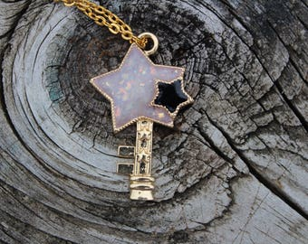 Star necklace, Glitter star wand Necklace, star pendant, resin star necklace, celestial jewelry, glitter star necklace, open bezel necklace