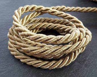 Sandcastle Beige 7mm Twisted Rayon Satin Rope Silk Braid Cord - 3 Ply Twist - 1 meters - 1.09 Yards