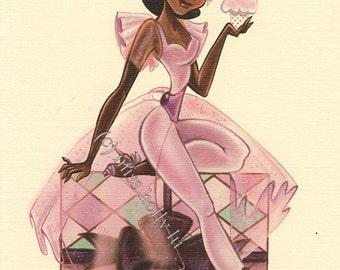Birthday Card, Sexy Lavender Dress, Beautiful Black Girl, Linen Card Stock by MissHollyLu