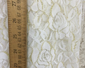 Nylon spandex ivory gold lace 58-60 in w Fabric by the yard