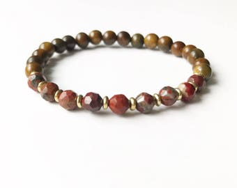Brecciated Jasper and Sandalwood Bracelet