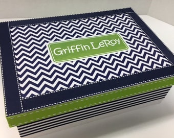 Keepsake Box Personalized Chevron and Stripe Motif Your Choice of Colors