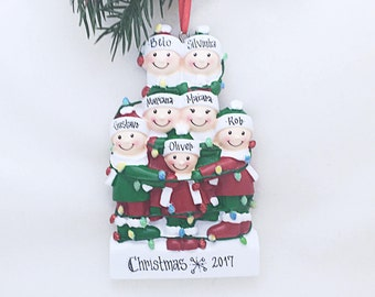 7 Family Tangled in Lights Family / Personalized Christmas Ornament / Large Family / Big Family / Grandchildren / Friends