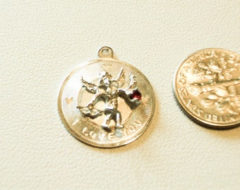 I LOVE YOU Pendent Charm  3D Cupid with a Ruby  Vintage  Charm  Silver   1960 1970   Free Shipping in the USA