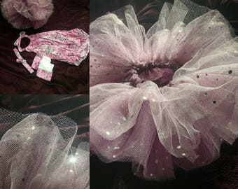 Pink and Purple Romper Onesie with matching Tutu, Leg Warmers and Headband