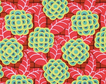 Amy Butler Cameo Tea Rose Scarlet Fabric by 1 yard