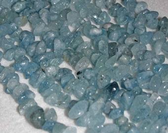 Aquamarine, Aquamarine Chip, Natural Stone, Gemstone Bead, Semi Precious, Blue Bead, Full Strand, 7-15mm, AdrianasBeads