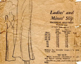 1930s Bias Cut Slip Pattern - Vintage Mail Order 5168 - Bust 36 Low Plunging Back Lingerie
