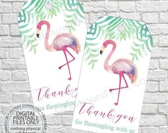 Flamingo Favor Tags, Flamingo Birthday, Thank you tags, Luau Birthday, Luau Favour tags, Tropical party, PRINTABLE DIY, Tropical Thank You