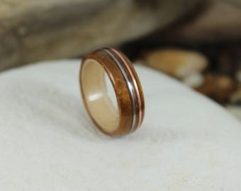 Koa & Maple Wood Ring with Copper and Silver, Mens Wood Ring, Womens Wood Ring, Wood Engagement Ring, Wood Wedding Band, Wooden Ring