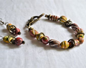 CLAY BEAD BRACELET Antique Bronze Accents with Clip Closure and Earrings