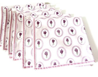 Vintage 6 Napkins, Vintage linens, dinner napkins, lilac napkins, afternoon tea, French napkins, French country, country kitchen linen,