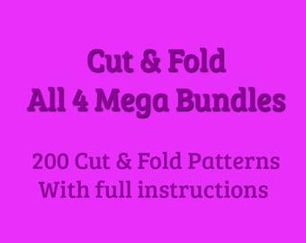 Book Folding Pattern - All 4 Mega Bundles - Cut and Fold - Shadow Folds & Combination Folds