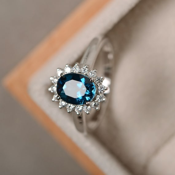 Well-known London blue topaz ring sterling silver blue gemstone VQ14