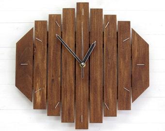 Wall Clock, Rustic Centerpiece, Brown Clock, Big Clock, Wooden Decor, Living Room Clock, Yoga Studio Decor, Bohemian Clock, Wooden Gift