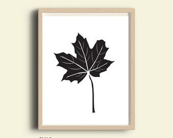 Maple leaf PRINTABLE, nature art print, maple leaf print, garden art, maple leaf art, digital maple leaf, wall print, garden decor, wall art