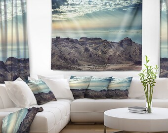Designart Remote Mountains in Morning Contemporary Wall Tapestry, Wall Art Fit for Wall Hanging, Dorm, Home Decor