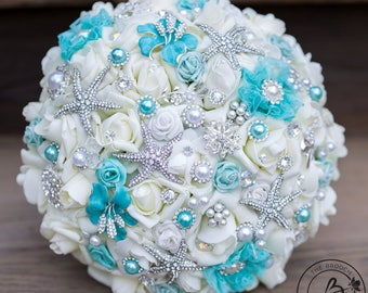 Jeweled bouquet, aqua blue brooch wedding bouquet, light teal starfish brooch bouquet, pool blue bridal bouquet, turquoise brooch bouquet
