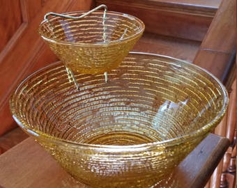 Vintage Amber Yellow Glass Chip Dip Serving Bowls