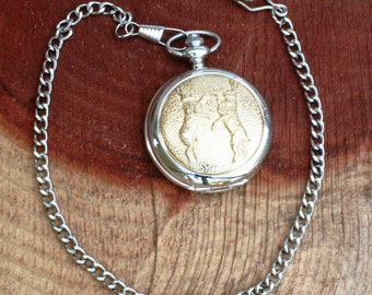 Hares Boxing dancing Pocket Watch Gold plated Gift Boxed FREE ENGRAVING