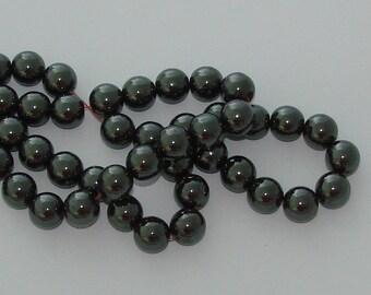 10 12mm diameter black Hematite beads